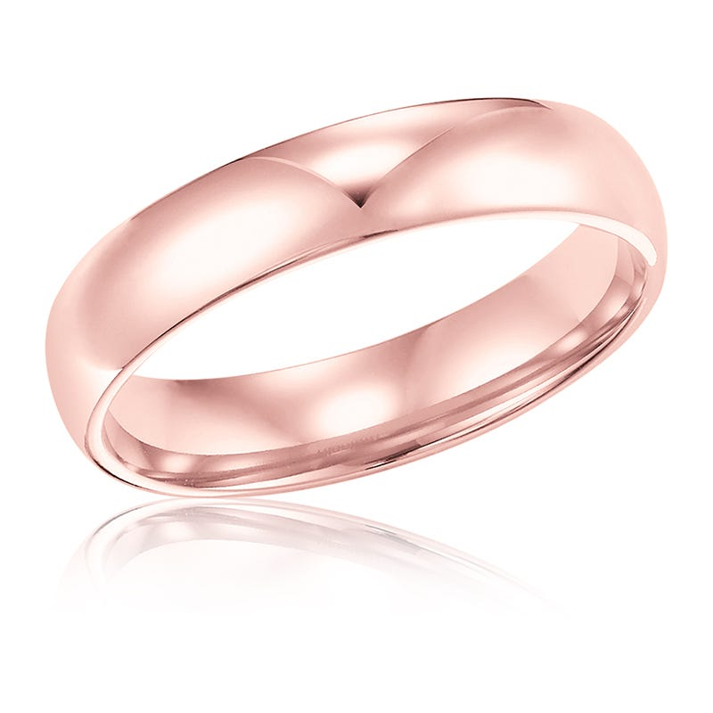 Ladies' 4mm Comfort Fit Classic Wedding Band in 14k Rose Gold, Size 7