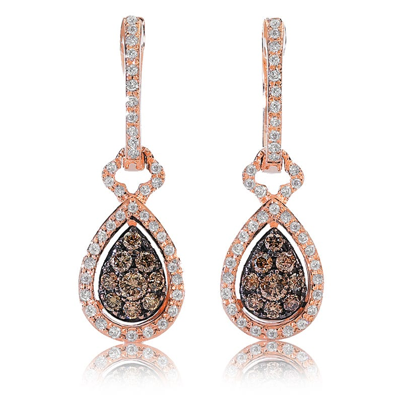 EFFY ½ct.+ Espresso & White Diamond Dangle Earrings in Rose Gold