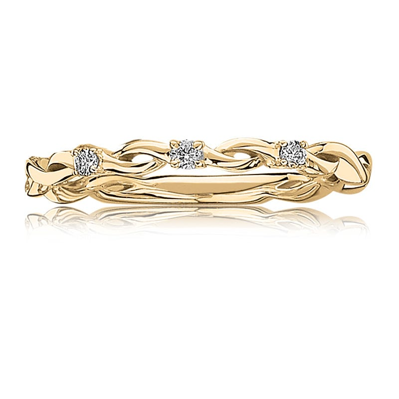Diamond Woven Design Band in 10k Yellow Gold