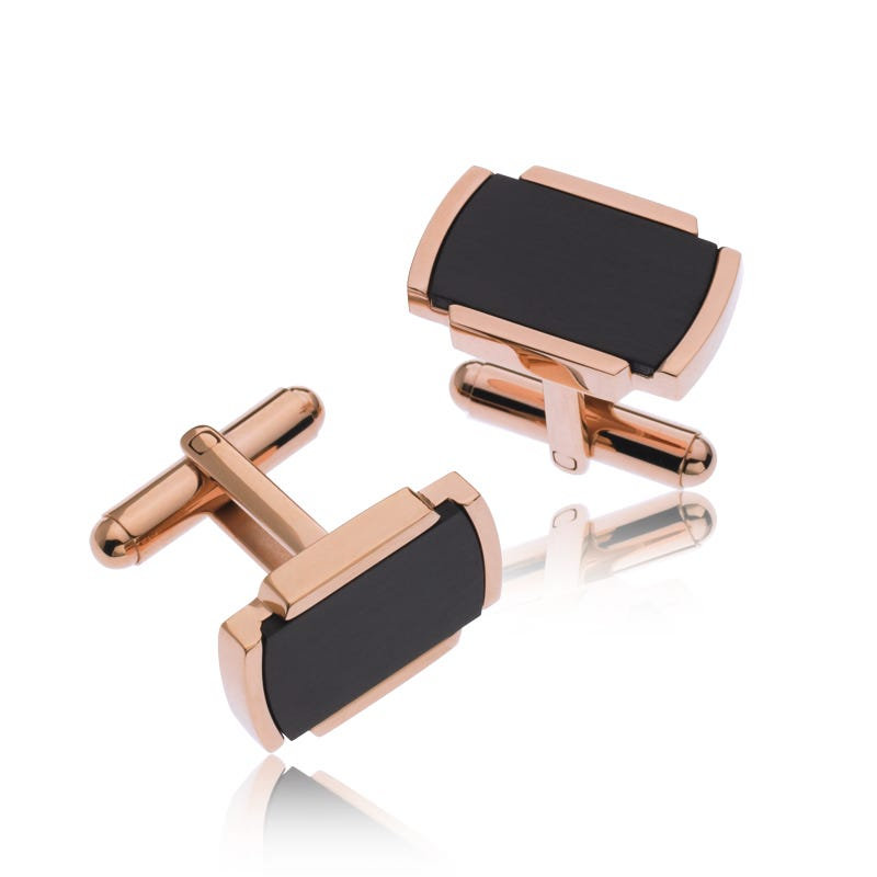 Rose Gold & Stainless Steel Cufflinks with Black Center