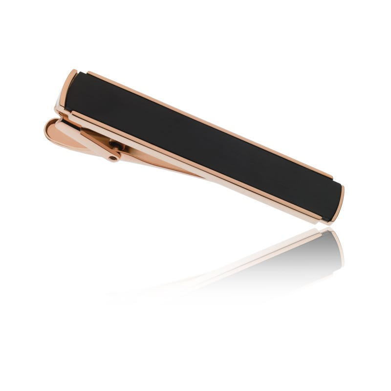Stainless Steel & Rose Gold Tie Bar with Brushed Black Center