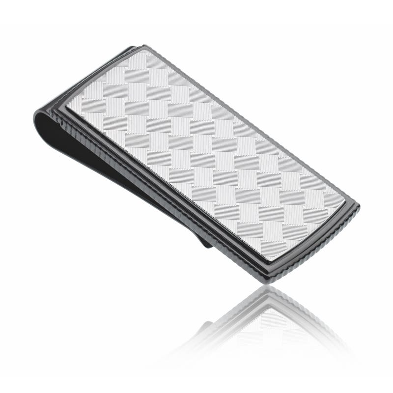 Gunmetal Argyle Design Money Clip