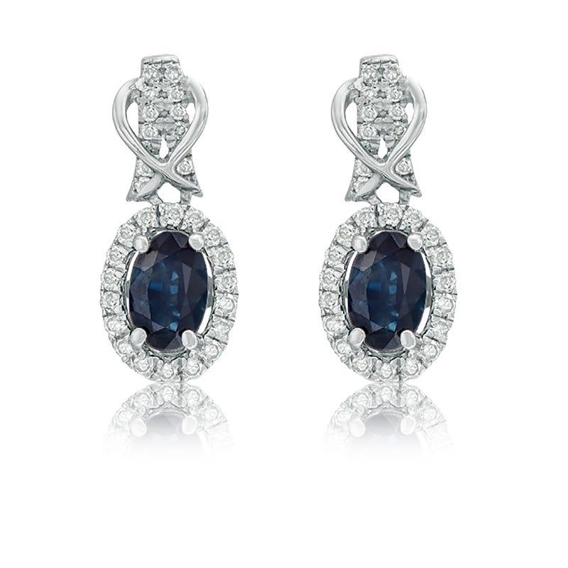 Sapphire & Diamond Halo Drop Earrings in 10k White Gold