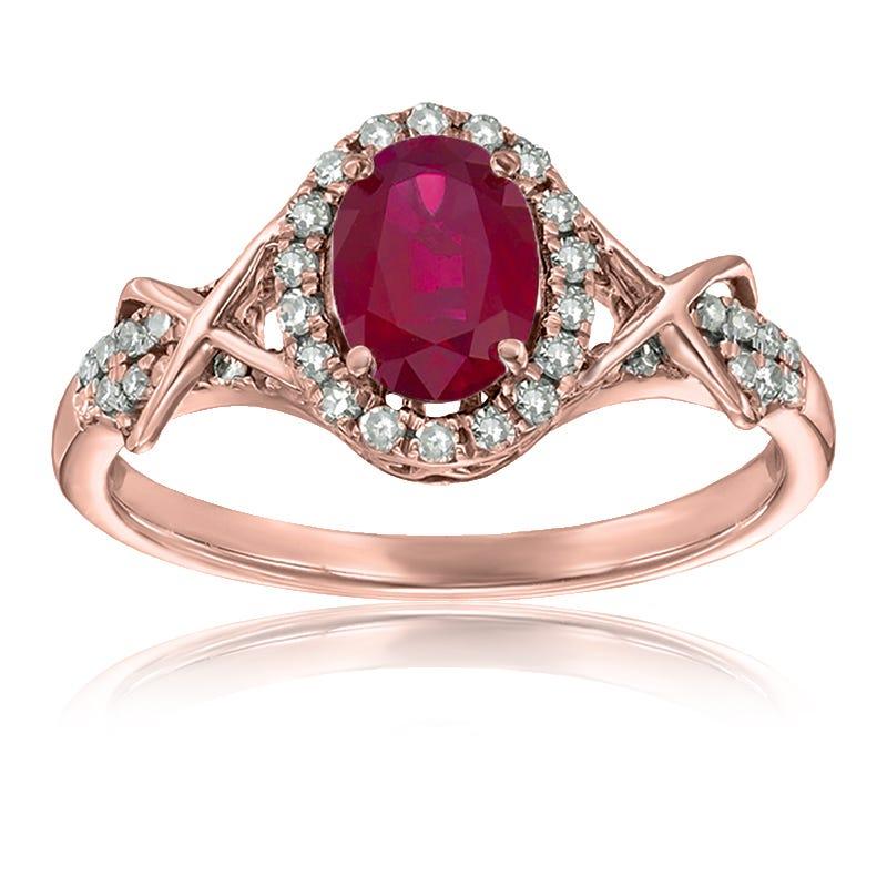 Ruby & Diamond Halo Ring in 10k Rose Gold