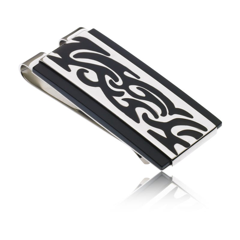 Tattoo Polish Design Money Clip in Stainless Steel