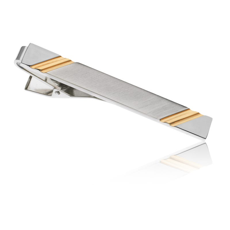 Two-Tone High Polished Tie Bar