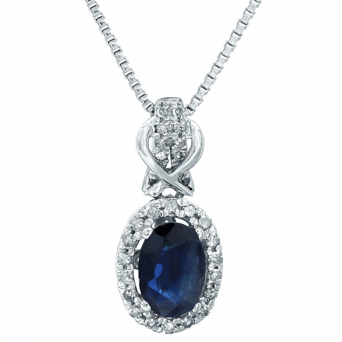 Sapphire & Diamond Halo Pendant in 10k White Gold