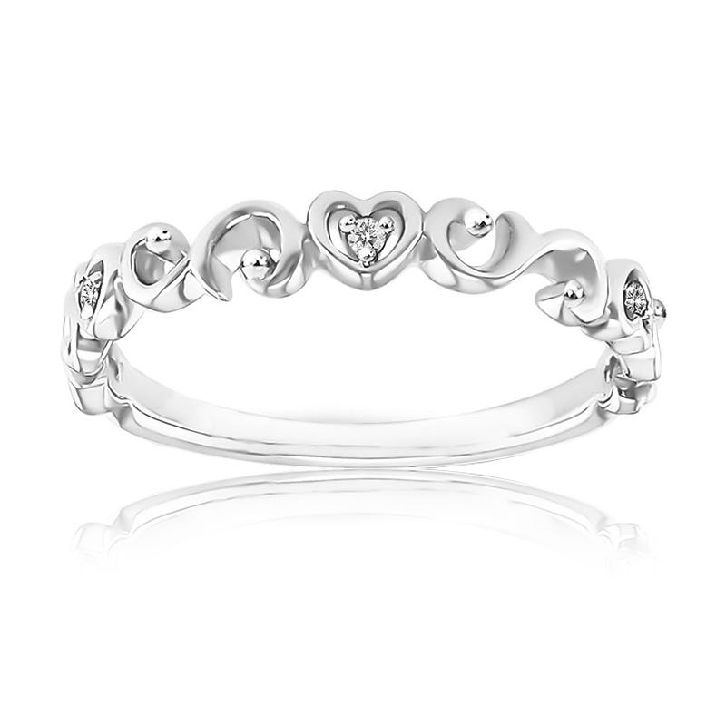 Diamond Hearts Stackable Band in 10k White Gold