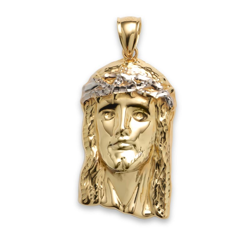 Smooth Gold Jesus Head Pendant in 10k Yellow Gold