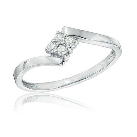 Diamond Cluster Promise Ring in 10k White Gold