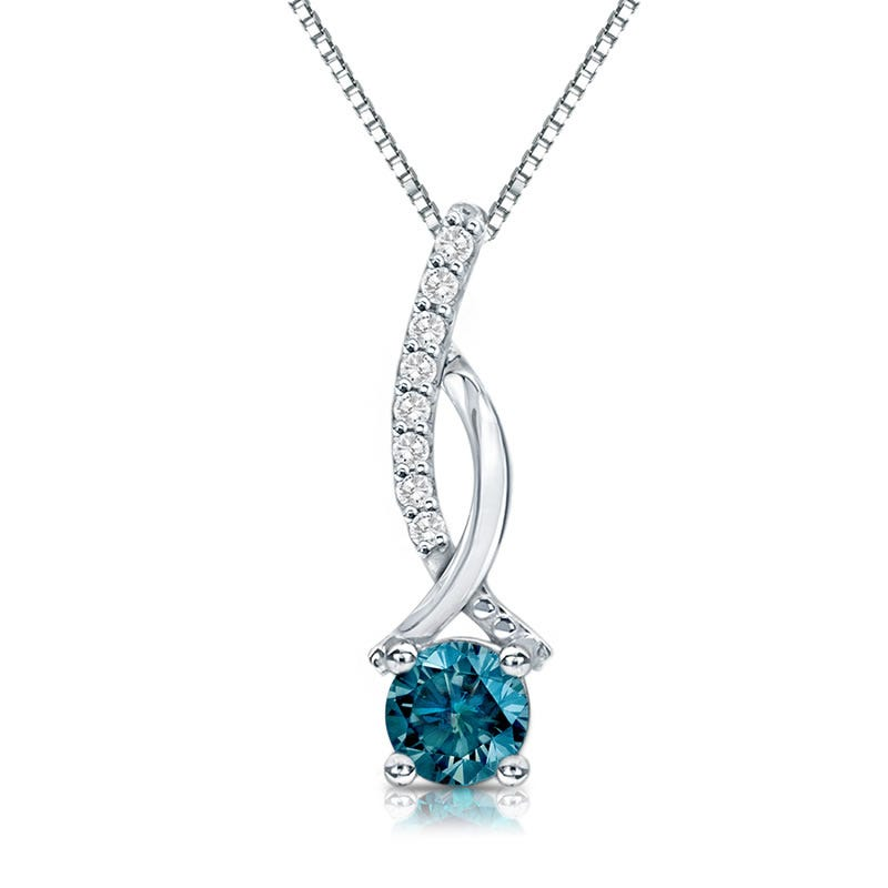 Genuine Blue & White ¼ct. t.w. Diamond Pendant in 14k White Gold