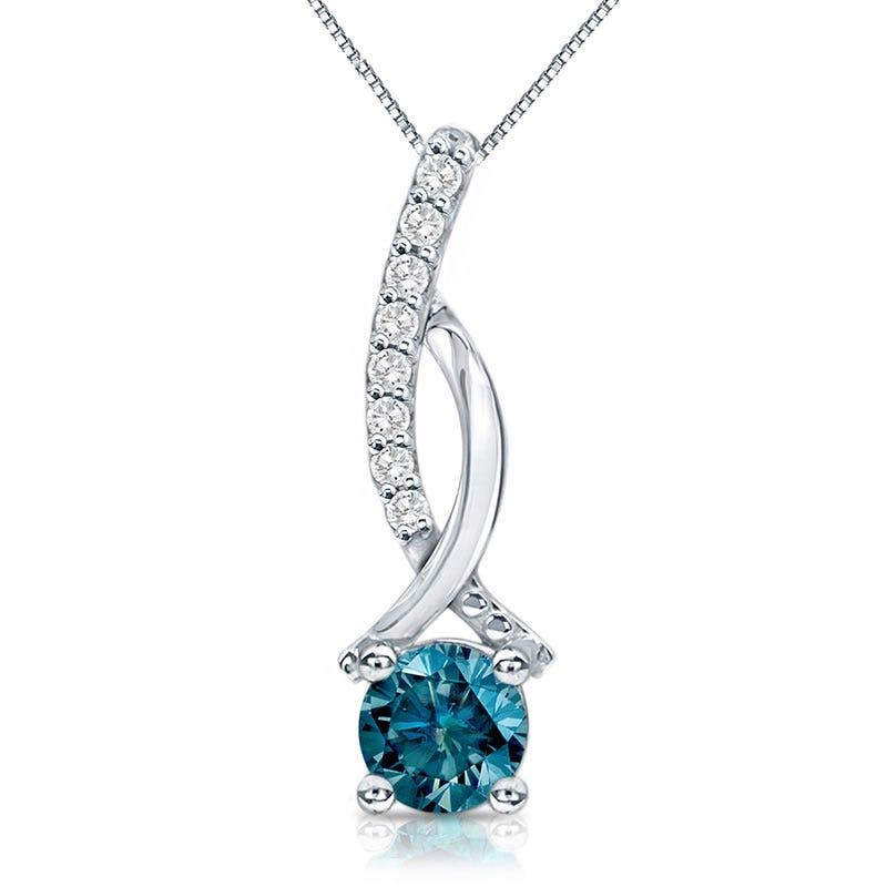 Genuine ½ ct. t.w. Blue Diamond Pendant in 14k White Gold