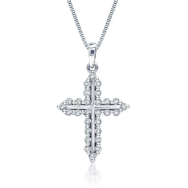 Diamond ½ct. t.w. Silhouette Cross Pendant in 14k White Gold