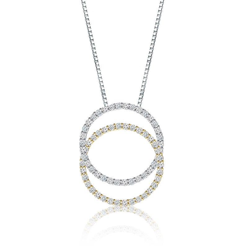 Double Diamond Circle Necklace 14k White & Yellow Gold