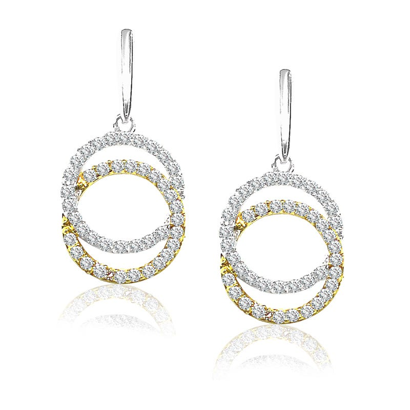 Diamond Circle Dangle Earrings in 14 White & Yellow Gold