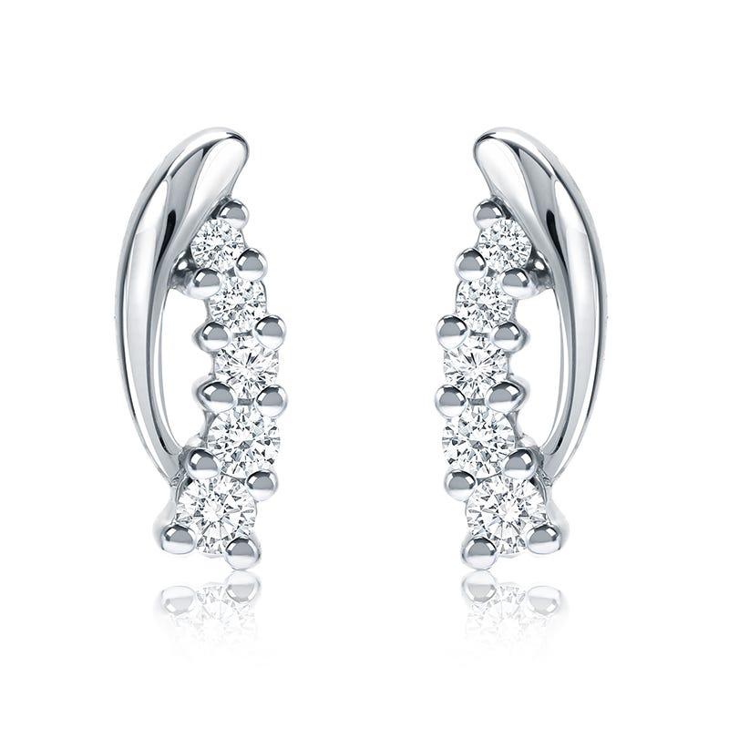 Diamond ¼ctw. Cascade Diamond Drop Earrings in 14k White Gold