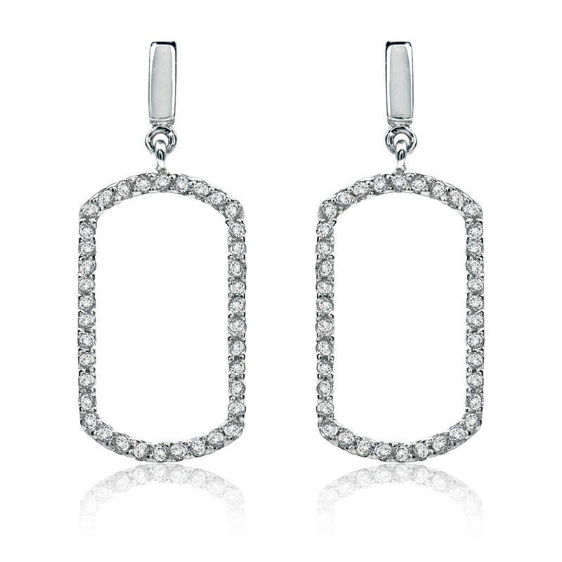 Diamond Geometric Dangle Earrings ¼ ct. t.w. in 14K White Gold