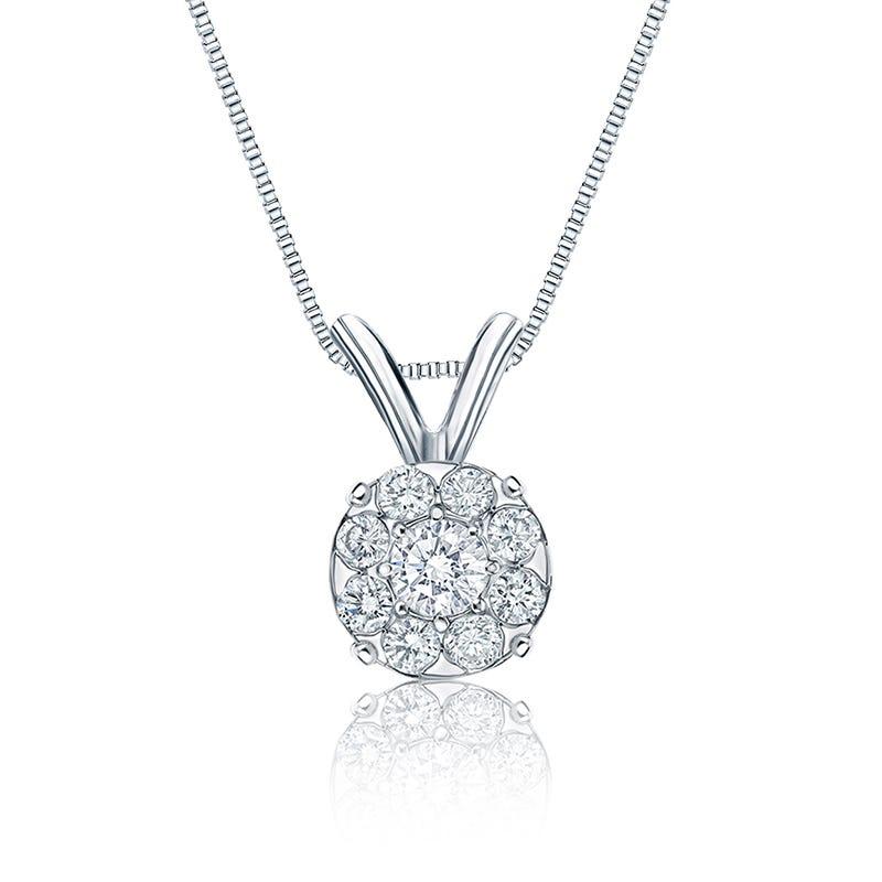 Diamond 1/2ct. t.w. Halo Pendant in 14k White Gold