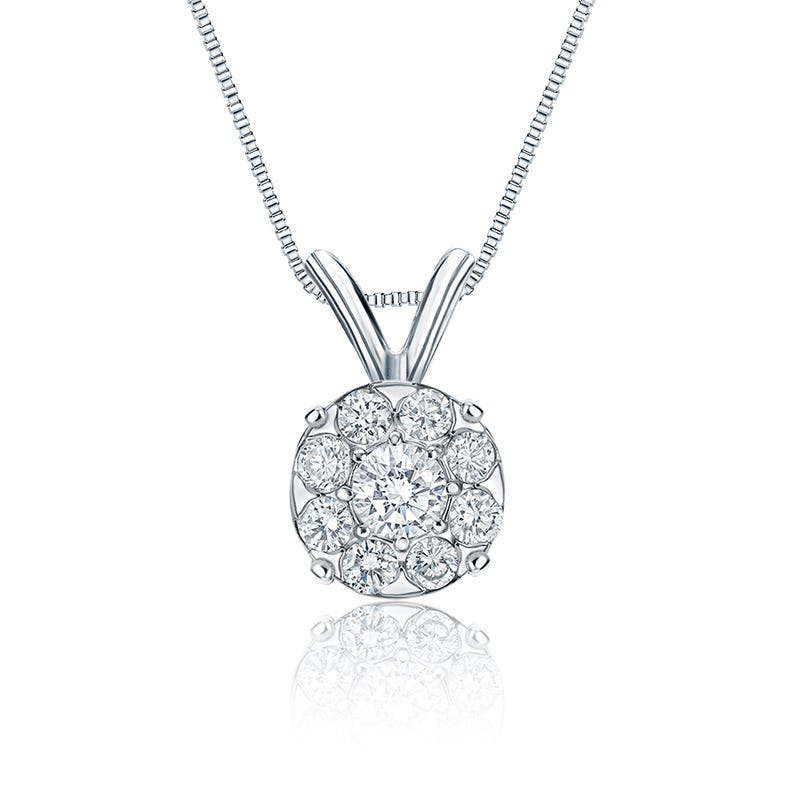 Diamond 1 1/2ct. t.w. Halo Pendant in 14k White Gold
