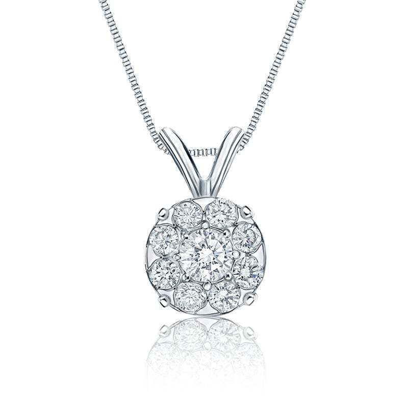 Diamond 2ct. t.w. Halo Pendant in 14k White Gold (G/H-I1/I2)