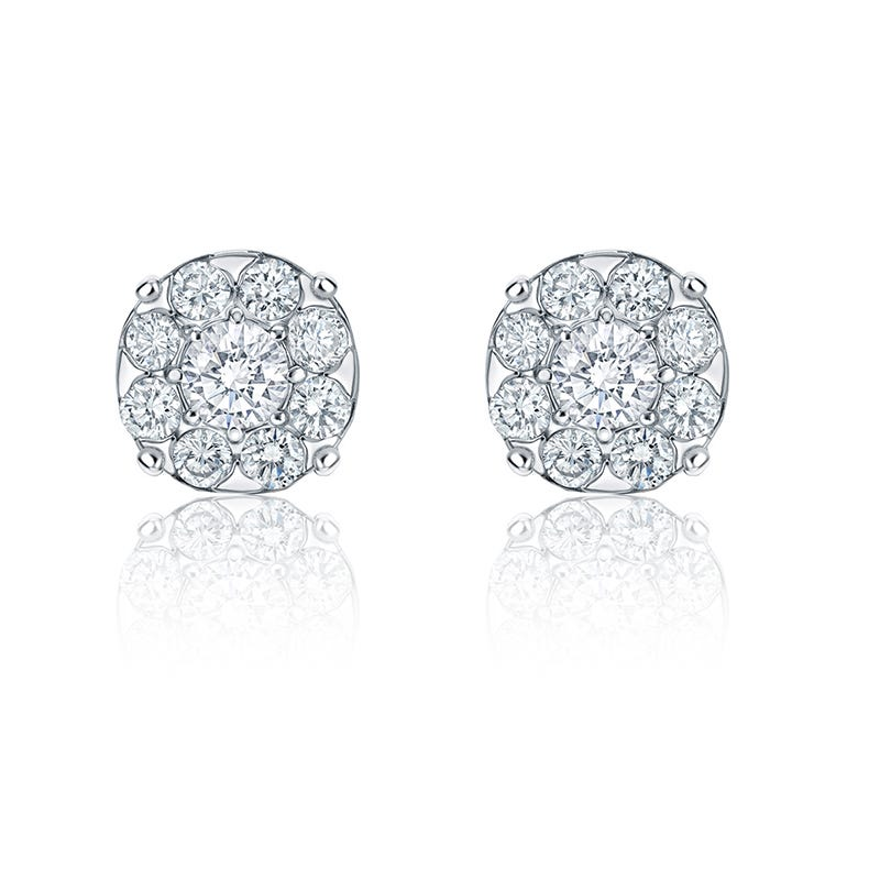 Diamond Halo ½ct. t.w. Stud Earrings in 14k White Gold