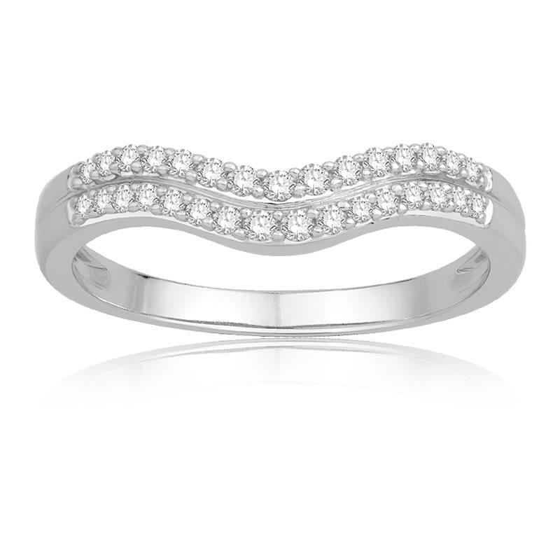 Double Row Diamond Contour Wedding Band in 14k White Gold