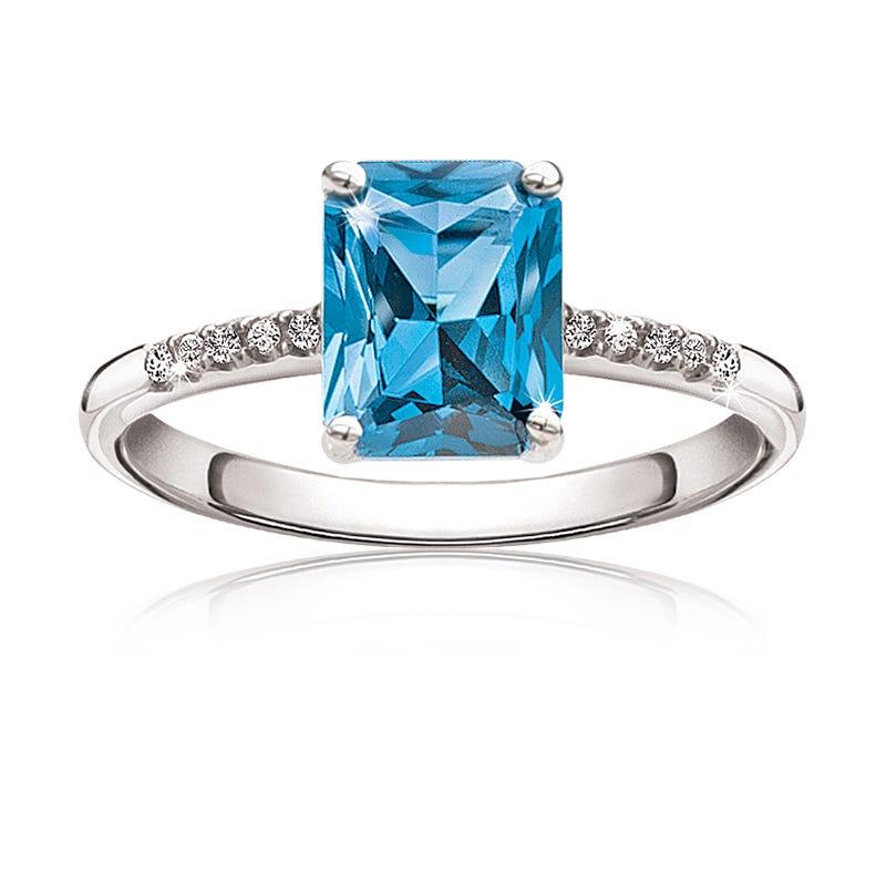 London Blue Topaz & Diamond Ring in 10kt White Gold