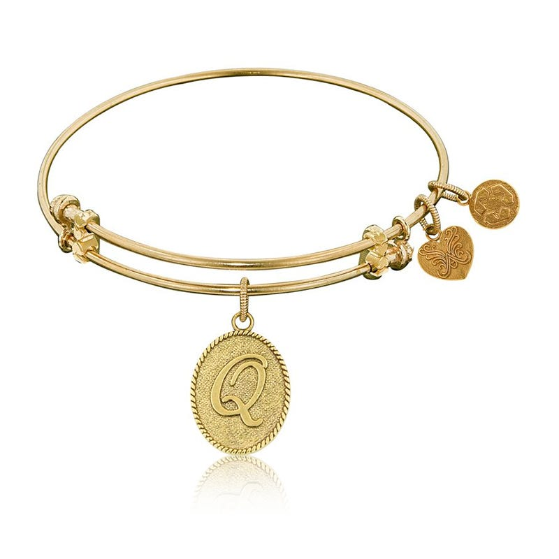 Initial Q Charm Bangle Bracelet in Yellow Brass