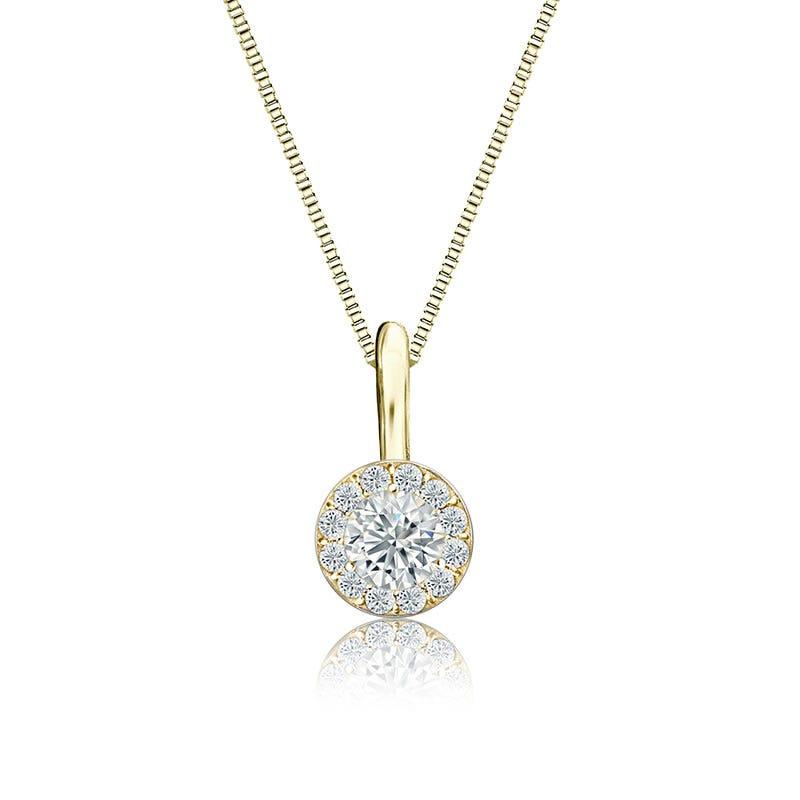 White Diamond Halo ¼ct. Pendant in 14k Yellow Gold