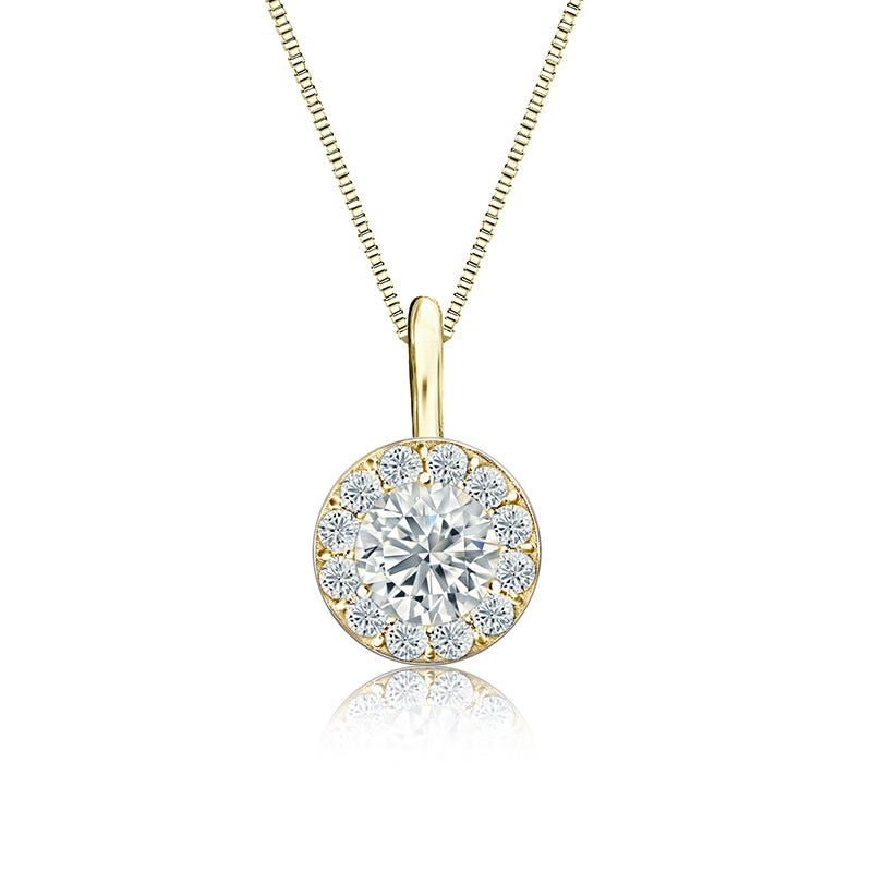 White Diamond Halo 1/2ct. Pendant in 14k Yellow Gold