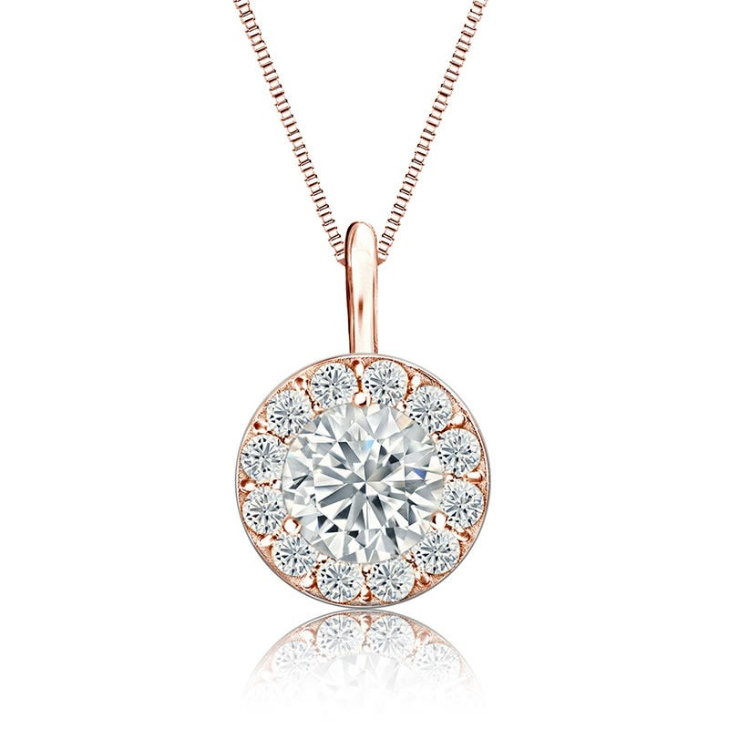White Diamond Halo 3/4ct. Pendant in 14k Rose Gold