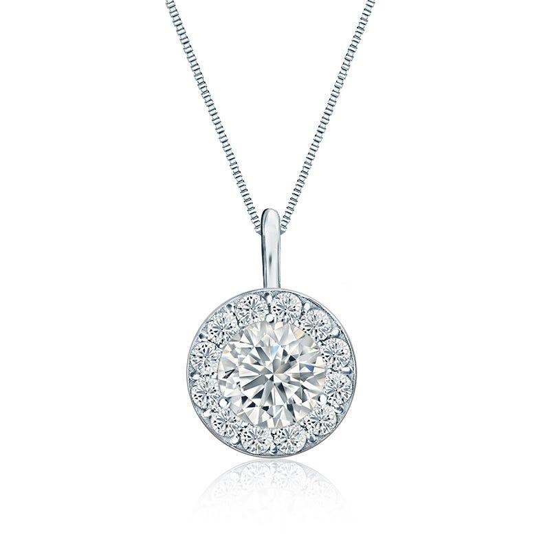 Diamond 1 1/2 ct. t.w. Halo Pendant in 14k White Gold