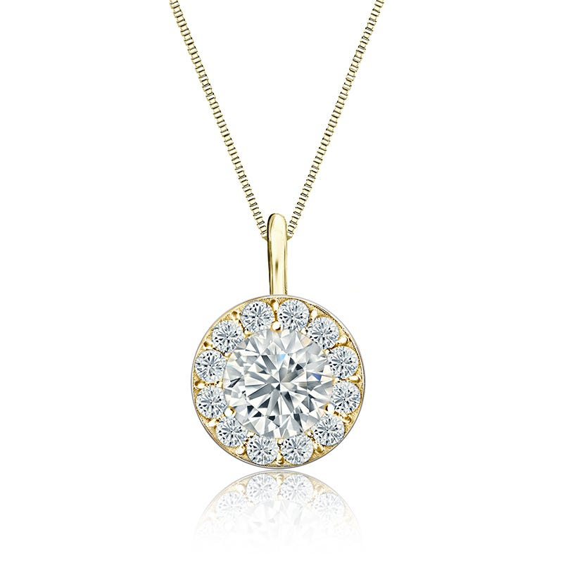 Diamond 1½ ct. t.w Halo Pendant in 14k Yellow Gold