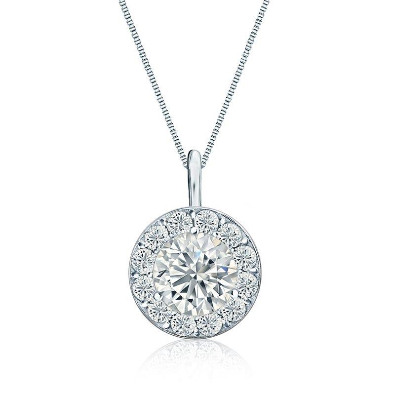 Diamond 2ct. t.w. Halo Pendant in 14k White Gold