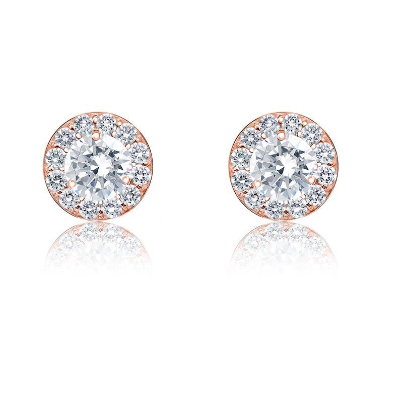 Diamond ¼ctw. Halo Stud Earrings in 14k Rose Gold