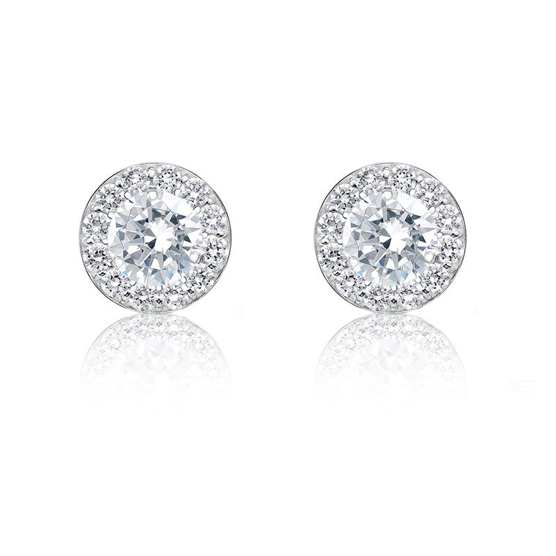 Diamond ½ct. Halo Stud Earrings in 14k White Gold