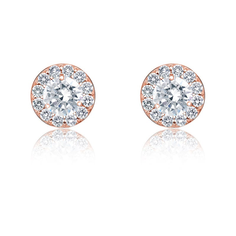 Diamond ½ct. t.w. Halo Stud Earrings in 14K Rose Gold