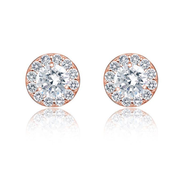 Diamond ¾ct. t.w. Halo Stud Earring in 14k Rose Gold