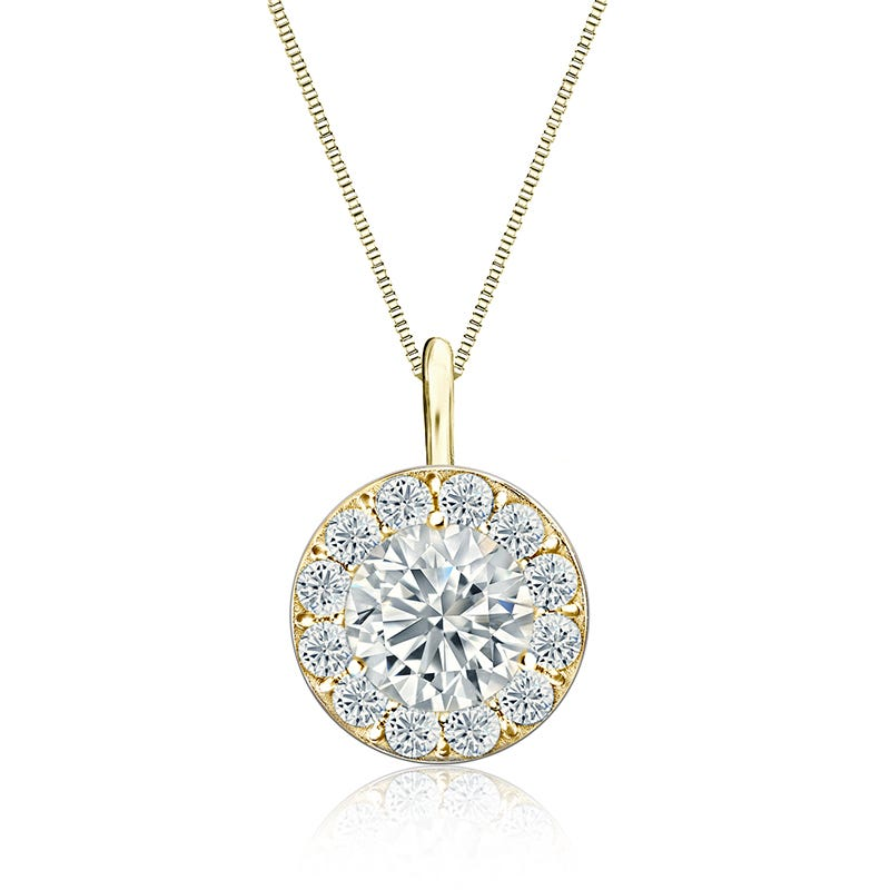 Diamond 2ct. t.w. Halo Pendant in 14k Yellow Gold