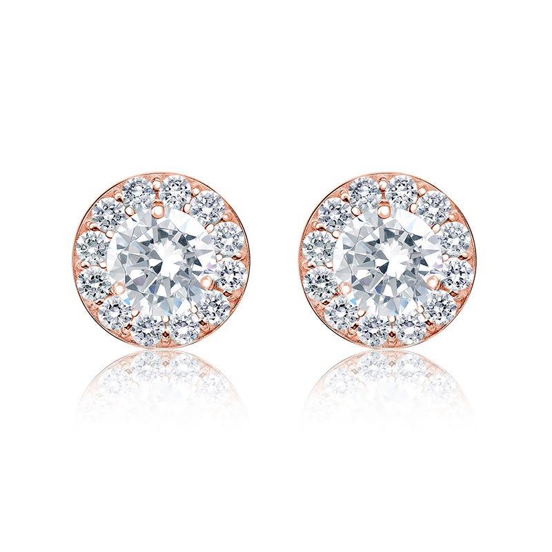 Diamond 1ct. t.w. Halo Stud Earrings in 14k Rose Gold