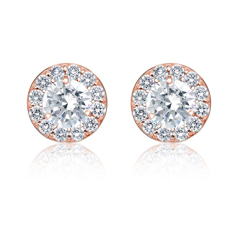 Diamond 1½ ct. t.w. Halo Stud Earrings in 14k Rose Gold