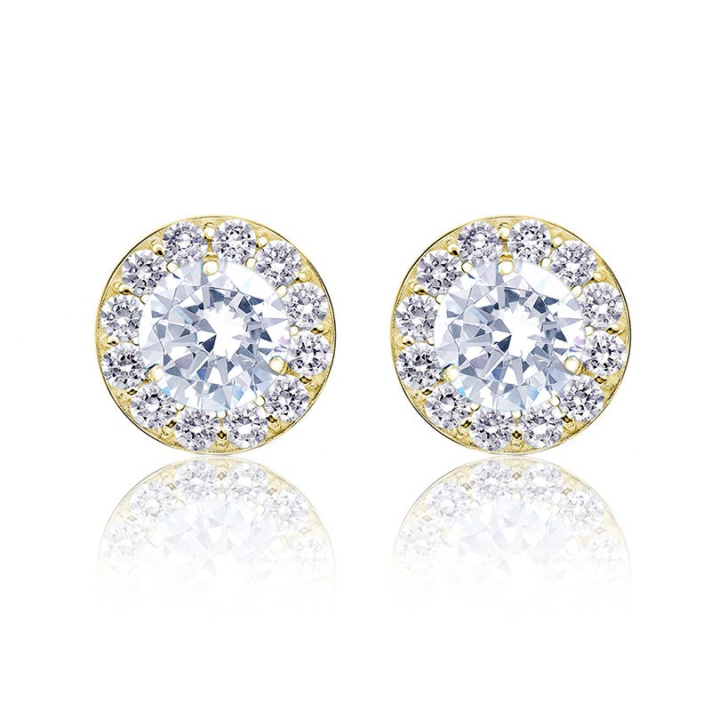 Brilliant-Cut 1½ ct. t.w. Diamond Halo Stud Earrings in 14k Yellow Gold