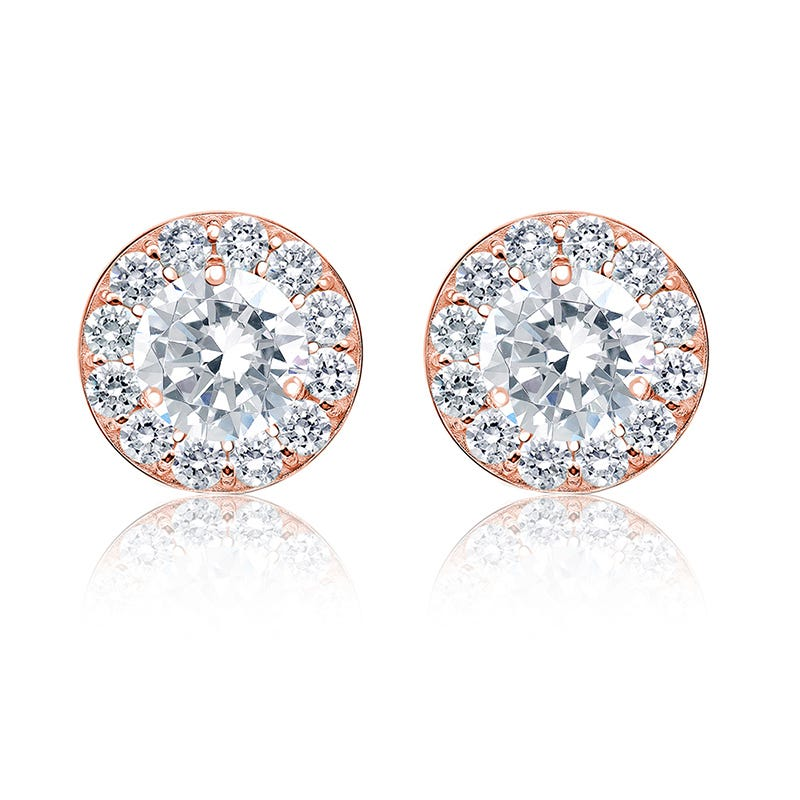 Brilliant-Cut 2ct. t.w. Diamond Halo Stud Earrings in 14k Rose Gold