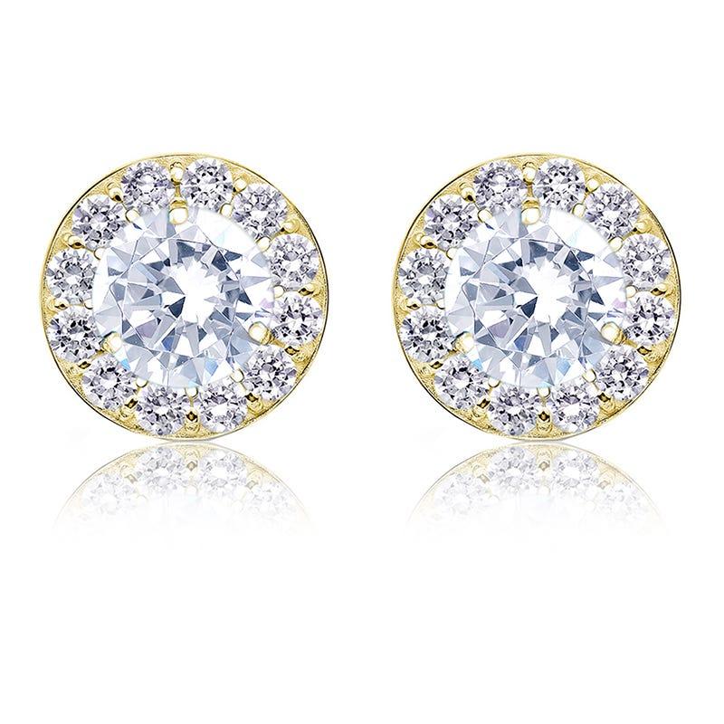 Brilliant-Cut 2ct. t.w. Diamond Halo Stud Earrings in 14k Yellow Gold