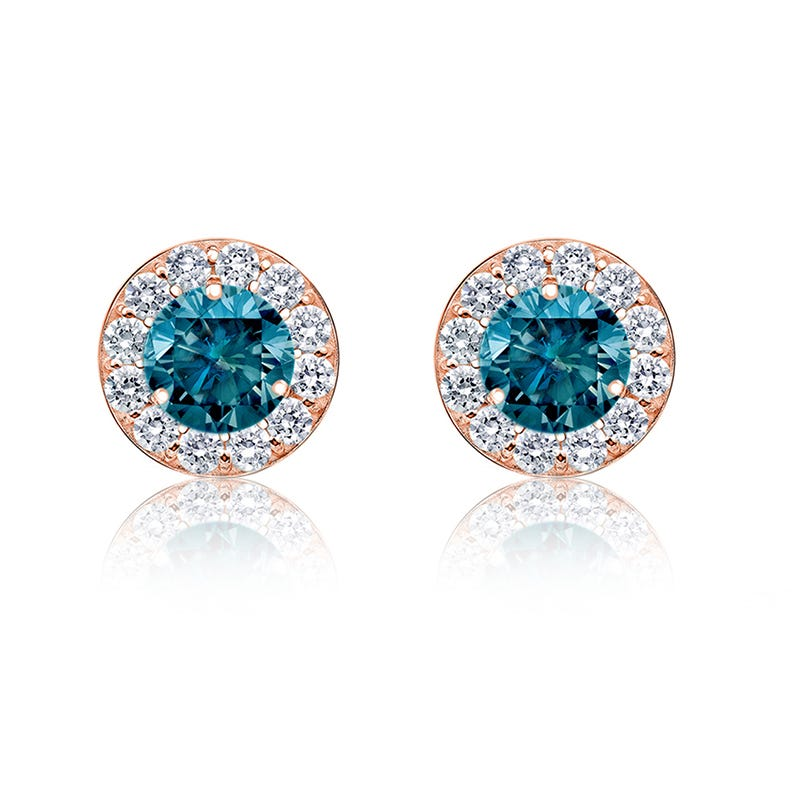 Brilliant-Cut ¼ct. Blue Diamond Halo Stud Earrings in 14k Rose Gold