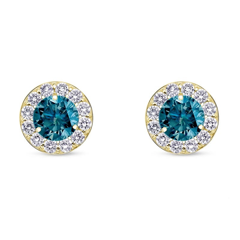 Blue Diamond Halo ¼ct. t.w. Stud Earrings in 14k Yellow Gold