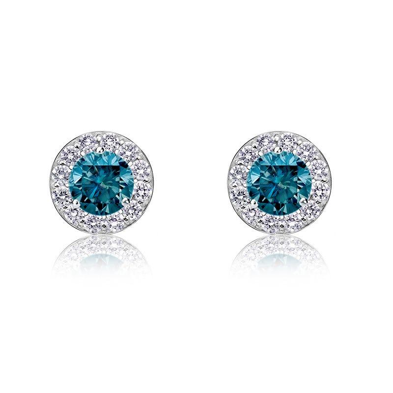 Blue Diamond ½ct. t.w. Halo Stud Earrings in 14k White Gold