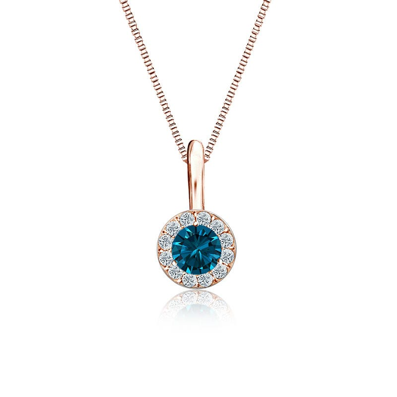 Blue & White Diamond Halo ¼ct. Pendant in 14k Rose Gold