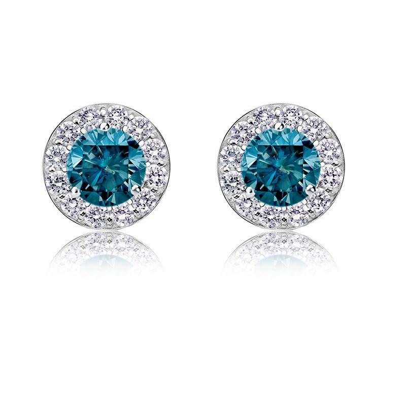 Blue Diamond ¾ct. t.w. Halo Stud Earrings in 14k White Gold