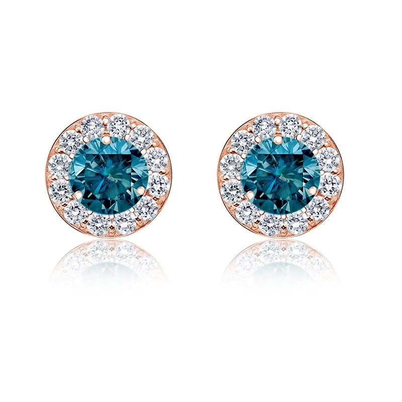 Blue 1ct. t.w. Diamond Halo Stud Earrings in 14k Rose Gold